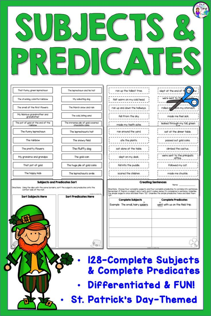 Subjects And Predicates Activities For St Patrick S Day Subject And Predicate Subject And Verb Grammar Practice [ 1104 x 736 Pixel ]