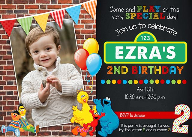 Best 25 Sesame street invitations ideas – 2 Year Old Birthday Invites