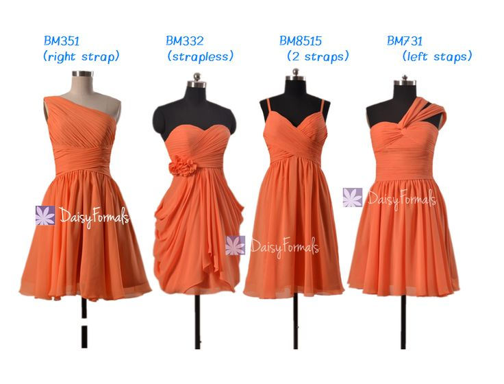 Orange Bridesmaid Dress Short Knee Length Chiffon Dress Chiffon Beach Wedding Party Dress(4 Designs)