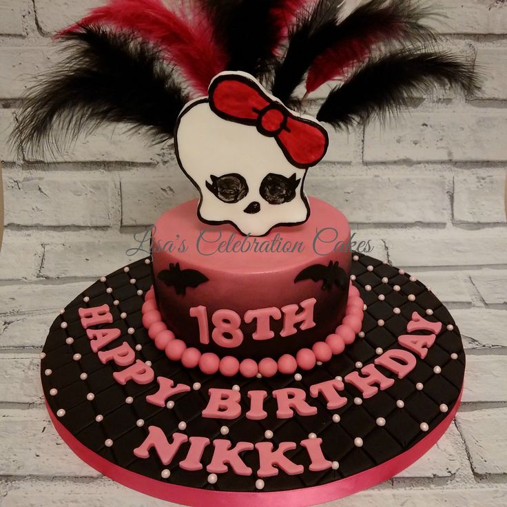 Monster High theme 18th birthday cake, with feathers.