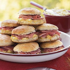 Top Tailgating Treats of the SEC: Wooo Pig Sooie Ham-Stuffed Biscuits with Mustard Butter from MyRecipes.com