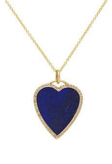 Jennifer Meyer Lapis & Gold Heart Pendant Necklace // Jennifer Meyer - London Jewelers - Americana Manhasset, New York.