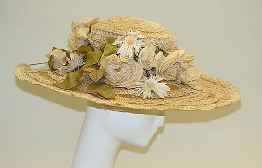 Hat 1910, American, Made of straw
