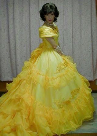 Kazumi from Japan wearing a fabulous ballgown