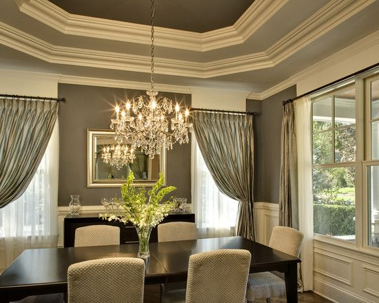 Tray ceiling in different shades crown molding tray for Dining room molding ideas