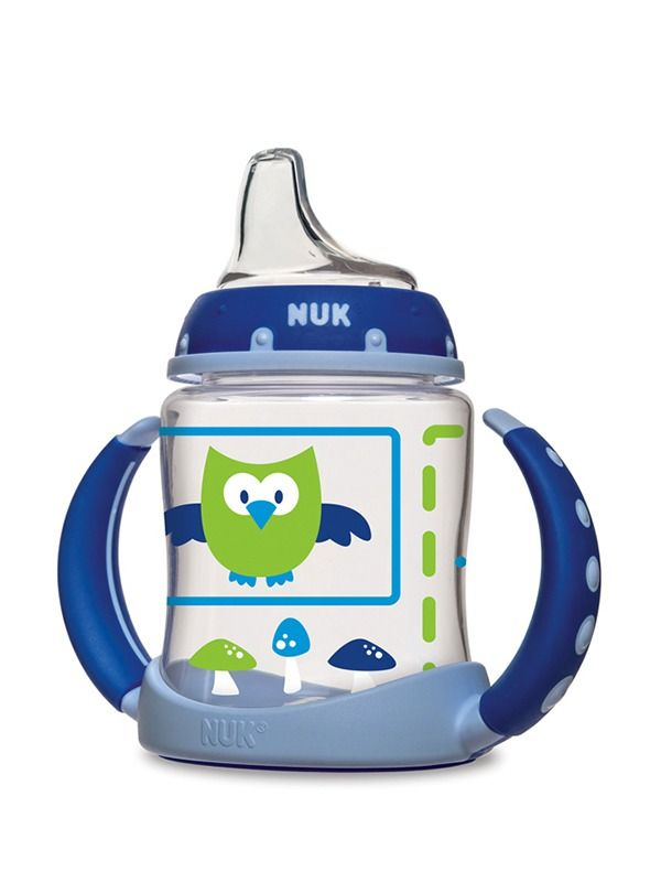 "Nuk Sippy cups are my absolute favorites for the first cup. The spout ""tastes"" the same as the bottle nipple, it's easy to suck, easy to clean, and mostly spill proof (not bang on the high chair proof)."