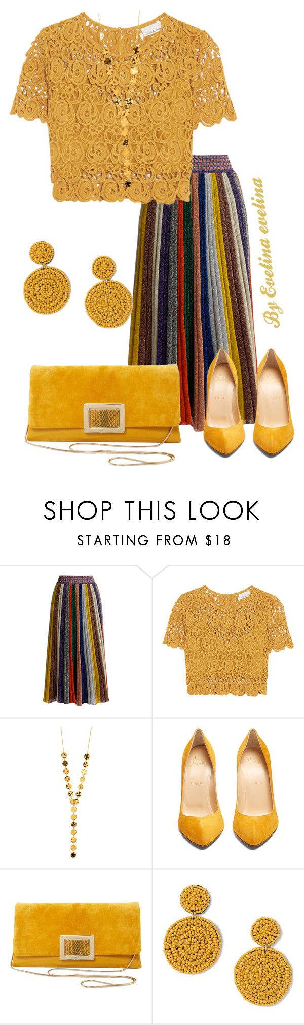 """EVE"" by evelina-er ❤ liked on Polyvore featuring Missoni, Miguelina, Gorjana, Christian Louboutin, Roger Vivier and Miss Selfridge"
