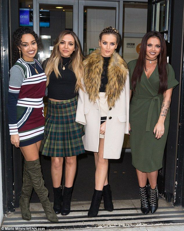 Gorgeous girls: Little Mix's Perrie Edwards, 22, visited the BBC Radio 2 studios in London on Friday, alongside her bandmates Jade Thirlwall, 22, Leigh-Anne Pinnock, 24 and Jesy Nelson, 24