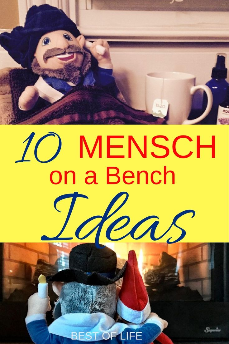 Use the best Mensch on a Bench ideas to start a new tradition for your family and to keep it going for years and years to come. Mensch on a Bench | Best Mensch on a Bench Ideas | Funny Mensch on a Bench Ideas | Easy Mensch on a Bench Ideas | Quick Mensch on a Bench Ideas | Hanukkah Traditions | Hanukkah Ideas | Things to do for Hanukkah via @AmyBarseghian