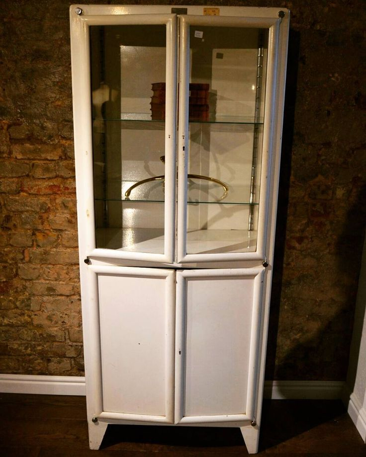 New White Display Cabinet with Glass Doors