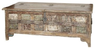 Wooden Trunk with Carved Panels - rustic - Decorative Trunks - Shop Chimney