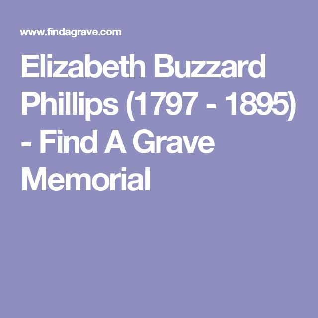 Elizabeth Buzzard Phillips (1797 - 1895) - Find A Grave Memorial
