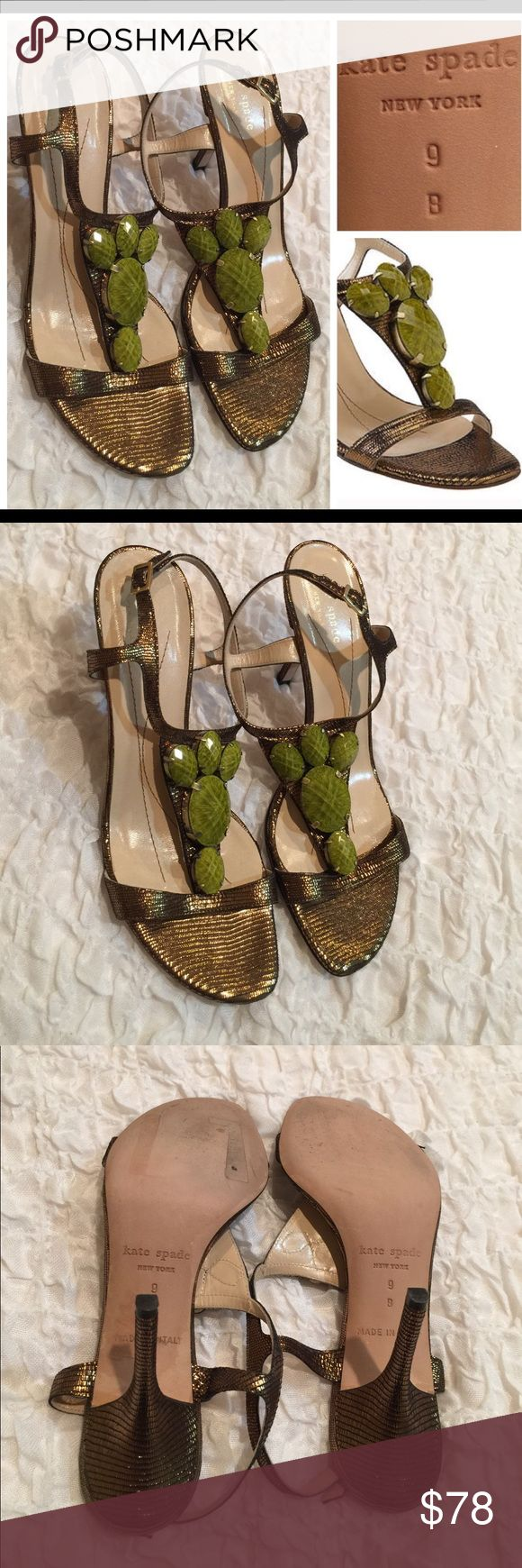 ♠️ kate spade gold green heeled sandals Excellent used condition. No flaws. 🚫 No Trades  🚫 No Holds 🚫 No Price Comments 👍🏻 Yes Offers 📐 Ask for Measurements  🚭 Smoke Free Home 📦 Fast Shipping ❤️ Like for Updates 🕉 Namaste 🙏 kate spade Shoes Heels