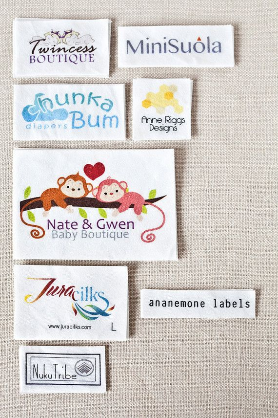 Custom Clothing Labels - personalized sewing labels printed with your logo or artwork on white organic cotton