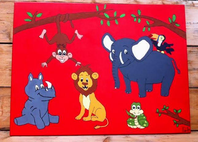 VERKOCHT!! 90 euro. Dierentuindieren op canvasdoek 80x60 cm (Acrylverf).   Heeft u vragen of wilt u een keer langskomen vul het contactformulier in op: www.dbhomelycartoons.com