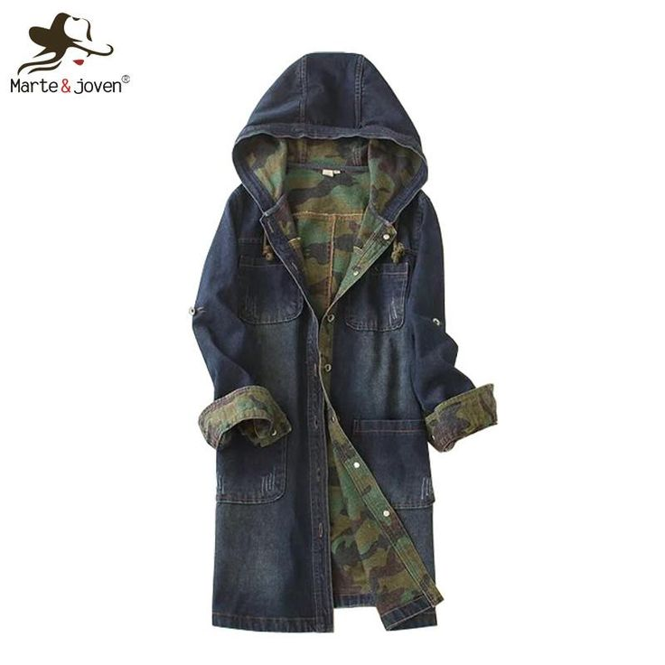 Fashion Casual Women Hooded Denim Coat Long Sleeve Jean Outerwear Spring Autumn Long Denim Coats Ladies Hooded Jean Jackets