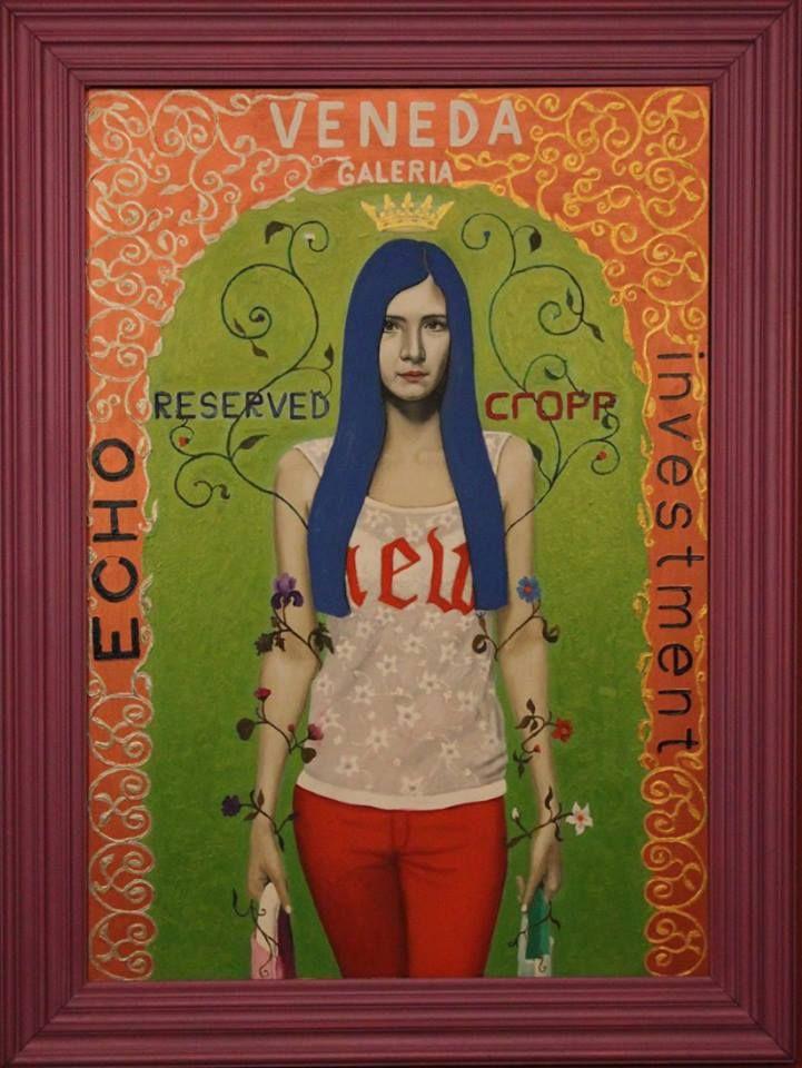 """,,Zakupy w Venedzie, Łomża"""" 2015r. olej-akryl na płótnie 100x70cm. Uczestniczył w 42. Biennale Malarstwa """"Bielska Jesień 2015"""" w Bielsku-Białej"""