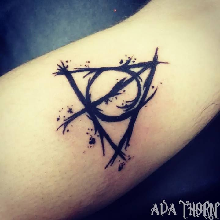 Nice Black Deathly Hallows Tattoo