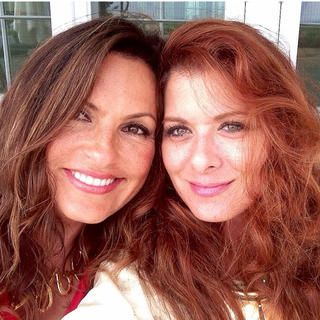 Mariska with one of her bff's - Debra Messing