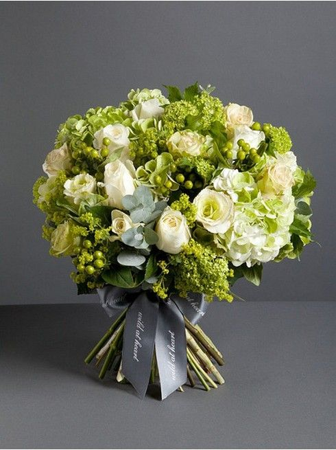 Wild At Heart - Florist's Favourite Bouquet  - Newly designed by our florists, this bouquet is a sumptuous mix of Mint Green Hydrangea. Hypericum, White Norma Jean Roses, Cabbages and lime green garden foliage.