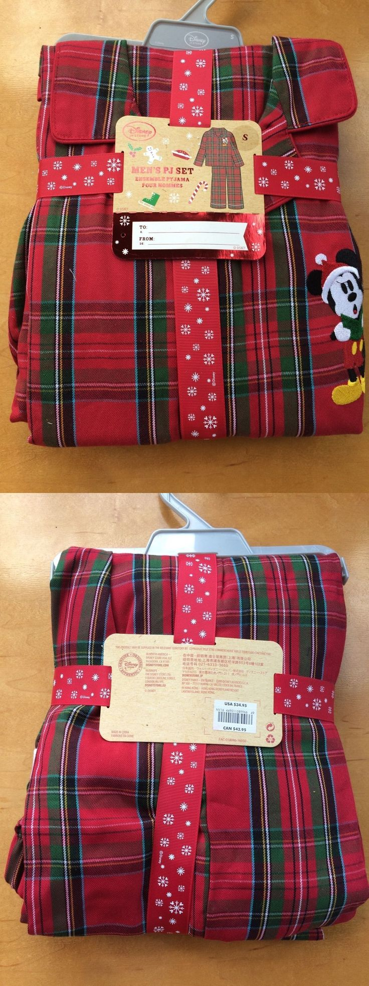 Sleepwear and Robes 11510: Nwt Disney Store Mickey Mouse Christmas Plaid Red Men Pajamas Set Small Medium -> BUY IT NOW ONLY: $35.95 on eBay!