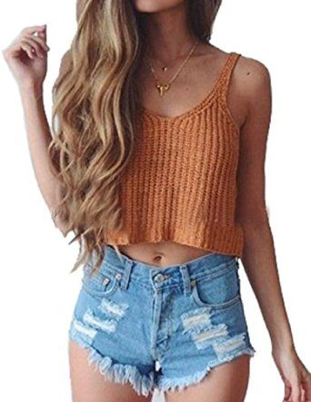 MerryDay Women's Knit Crop Slim Sling Tank Top Vest (Orange) at Amazon Women's Clothing store: