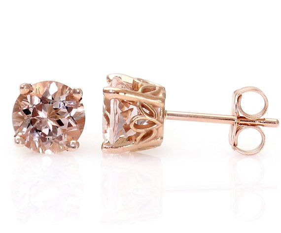 Morganite Earrings Rose Gold Morganite Stud Earrings From Pick your Size Post Earrings on Etsy, $249.00