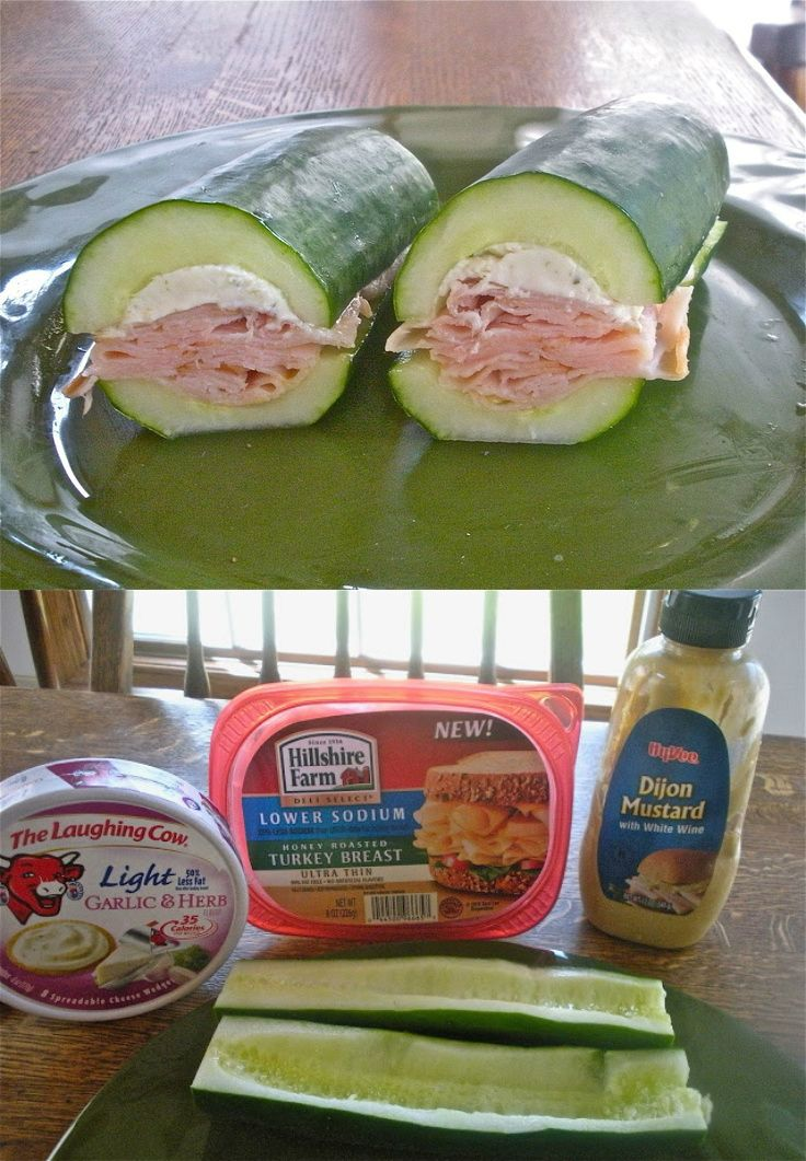 "carbless meals carbless recipes snack Cucumber Subs ""No carbs but lots of crunch. Such a great idea! I'm doin' it!"""