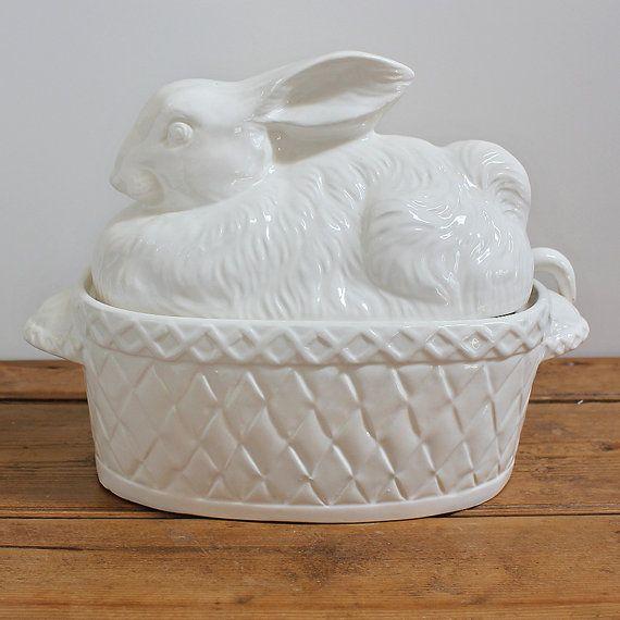 White Ceramic Rabbit Bunny Covered Soup Tureen White