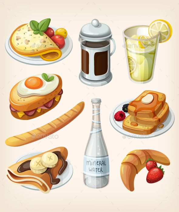 Set Traditional French Breakfast Elements French Breakfast Food Illustrations Food
