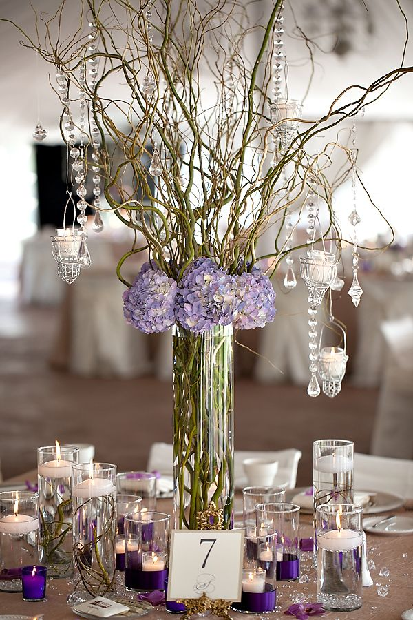 Tall Hydrangea & Curly Willow centerpiece, very similar to ours except pink!
