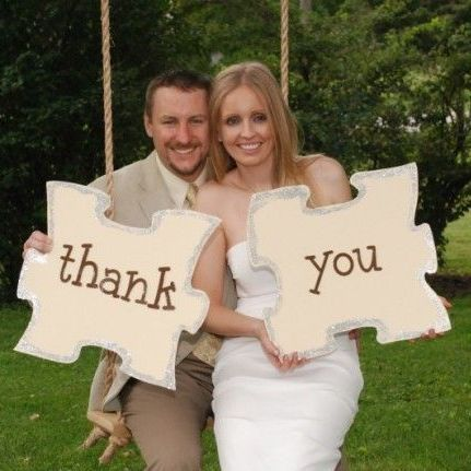 Bridal couple expressing thank you with puzzle pieces.  See more chocolate puzzle wedding favors and party ideas at www.one-stop-party-ideas.com