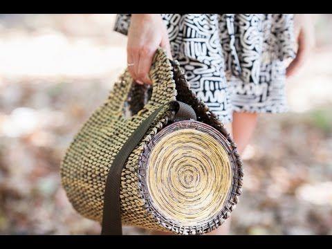 """Плетёная сумка """"полено"""" из бумажной лозы"""