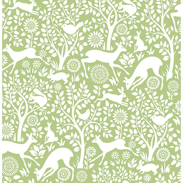 2702-22732 - Meadow Green Animals Wallpaper - by A - Street Prints