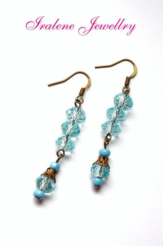 Light Blue Crystal earrings Dangle on bronze by IraleneJewellry, $3.45