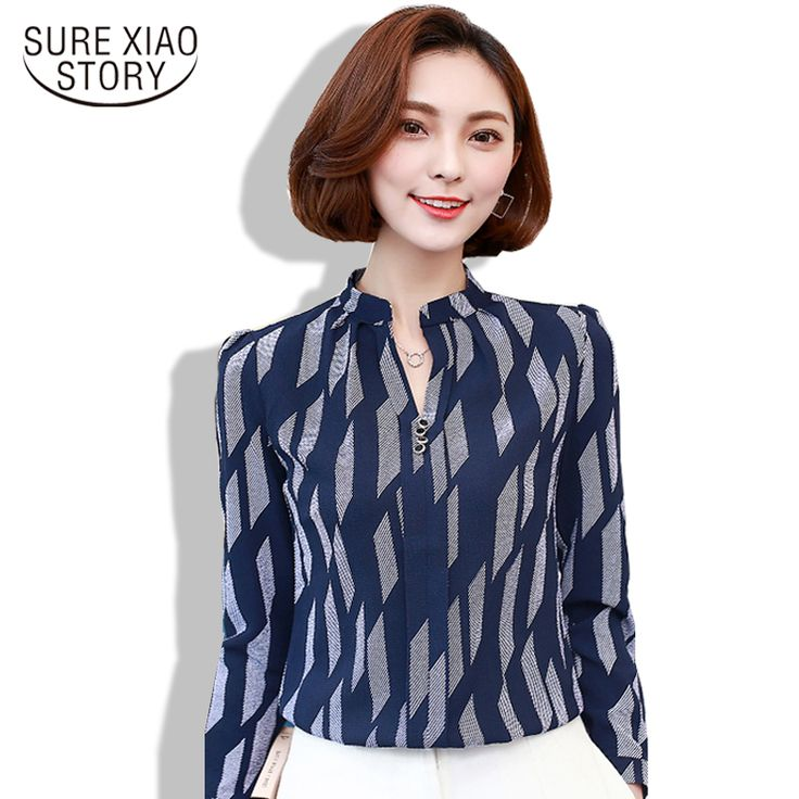 The Spring of 2017 New Women Tops Casual V Collar Chiffon Blouse with Long  Sleeved Blooming