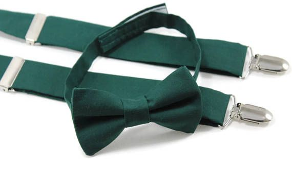 Hunter green Christmas bow tie and suspenders set for boys