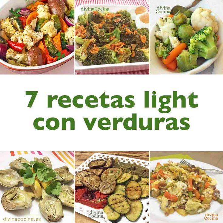 Aquí tenéis una selección de 7 recetas light con verduras para disfrutar la cocina vegetariana sabrosa y sencilla sin añadir una caloría de más.