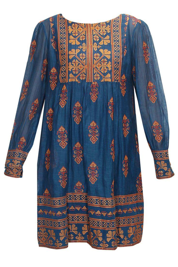 Indigo cross stitch embroidered tunic by Payal Pratap. Shop now: http://www.perniaspopupshop.com/designers/payal-pratap #tunic #shopnow #payalpratap #perniaspopupshop