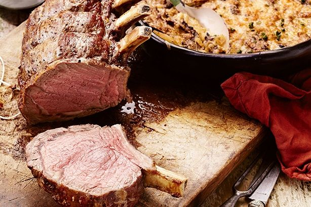 Slow Roasted Standing Beef rib with potato mushroom bake - Curtis Stone