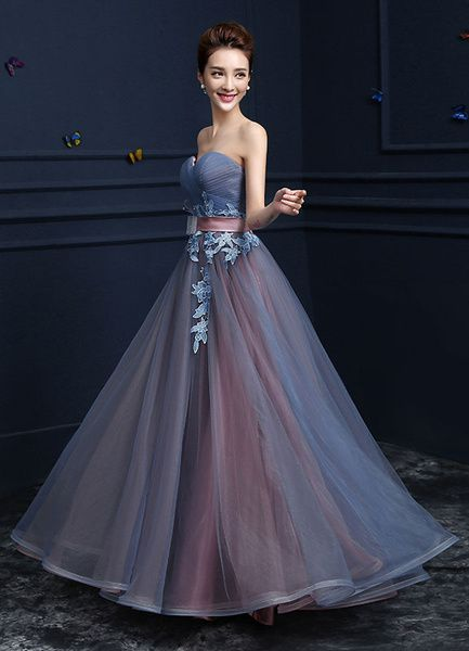 119508d07fe Sweetheart Evening Dresses Strapless Tulle Prom Dresses A Line Floor Length  Lace Up Applique Party Dresses