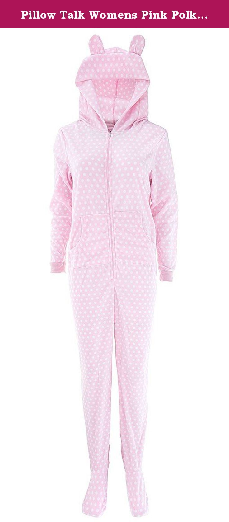 Pillow Talk Womens Pink Polka-Dot Hooded Footed Pajamas XL. These fleece, footed pajamas come complete with an attached hood. They feature a novelty print. The hood even has animal ears on the hood. The fabric is warm, micro polar fleece. The brand is Pillow Talk. They zip up the front. The soles of the feet have a non-skid finish.