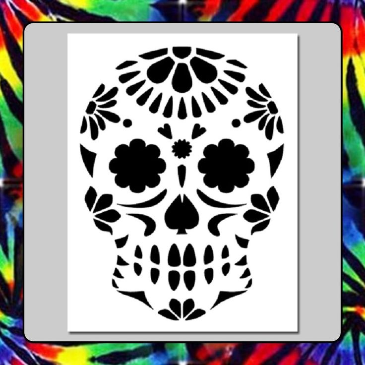7 x 9 floral sugar skull face stencil day of the deadmexican halloween - Mexican Halloween Skulls