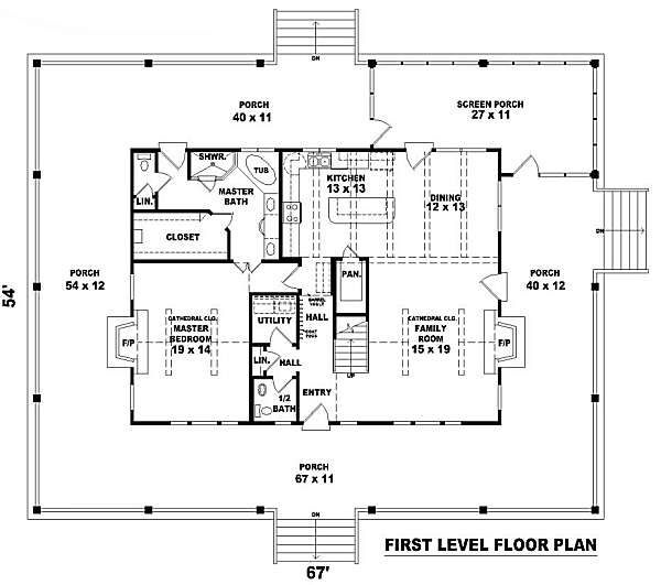 Simple Box Shape With Open Floor Plan And A Lot Of Porch