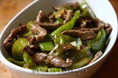Ternera frita con pimientos verdes (Cocina china).