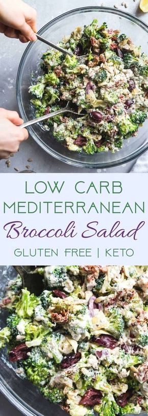 Low Carb Mediterranean Broccoli Salad – This Low Carb Broccoli Salad, with a Gre…