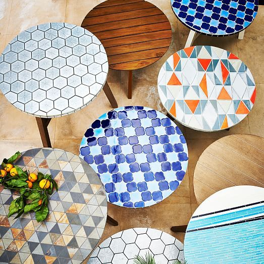 Add A Little Art To Your Outdoor Space With The Mosaic Tiled Bistro Table.  Its Mid Century Inspired Ceramic Tile Pattern Is Carefully Inlaid By Hand  Onto An ...