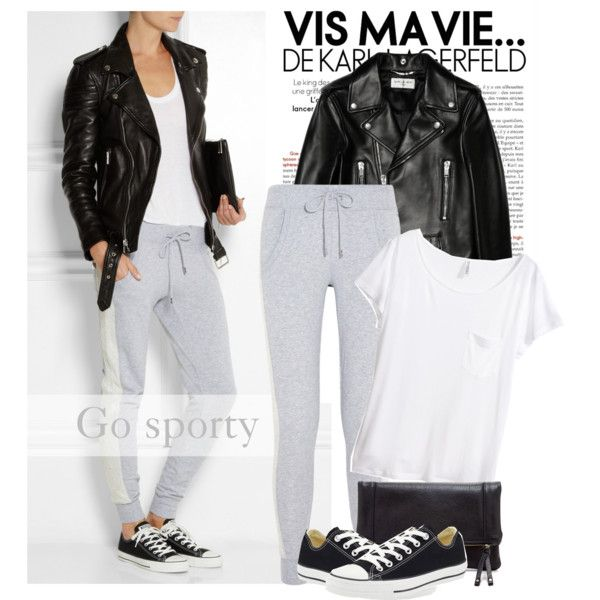 A fashion look from August 2014 featuring H&M t-shirts, Yves Saint Laurent jackets and MICHAEL Michael Kors activewear pants. Browse and shop related looks.