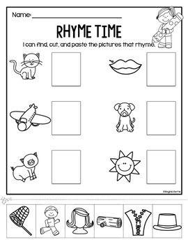 Rhyme Time Cut/Paste Worksheets | Kindergarten chaos ...