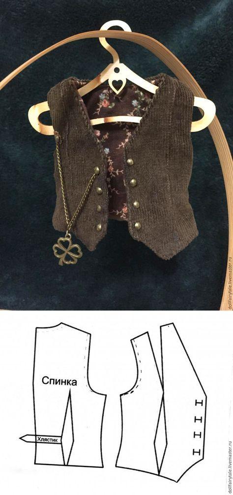 Выкройка жилета для куклы / Doll's vest pattern